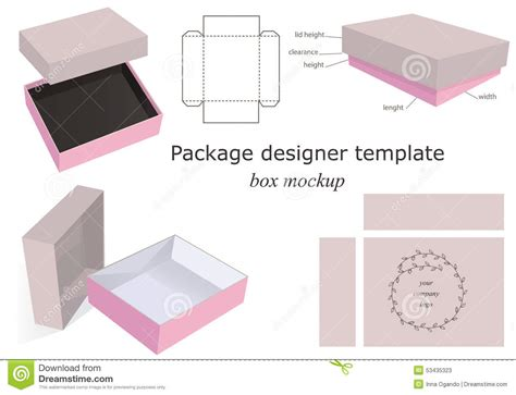 package template package mockup box stock vector image of closed icon