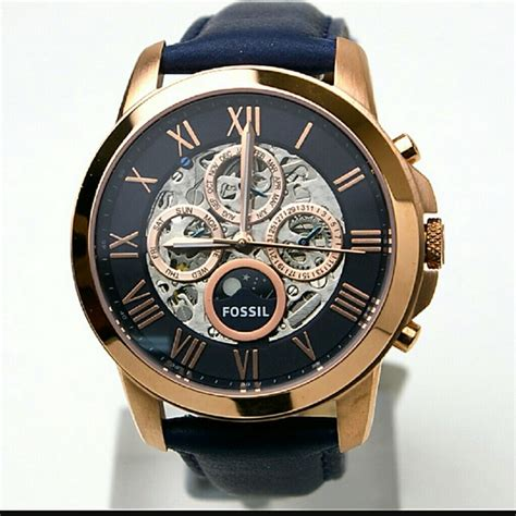 Nwt Jam Fossil Rosegold fossil nwt fossil automatic skeleton gold blue