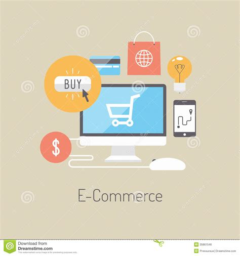 layout online store e commerce flat illustration concept royalty free stock