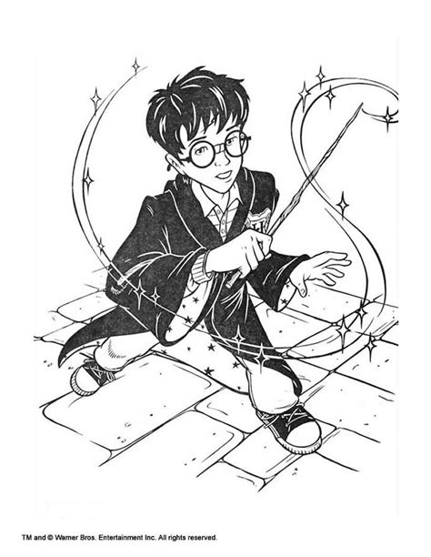 harry potter coloring pages sorcerer stone harry potter with magic stick coloring pages hellokids com
