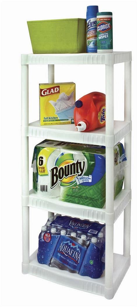 white plastic storage shelves plano 4 tier heavy duty plastic shelves white shelving