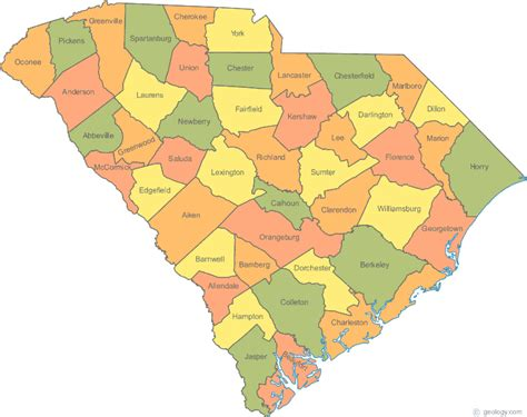 south carolina map map of south carolina