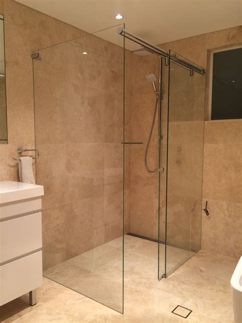 Shower Screens Doors Sliding Frameless Shower Screen White Bathroom Co