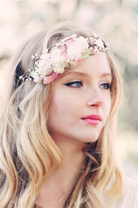 bridal flower crown wedding hair accessories by serenitycrystal