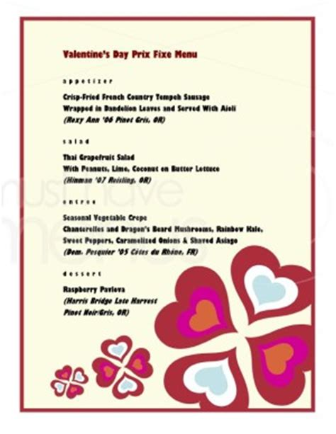 prix fixe menu template hearts prix fixe menu template s day menus
