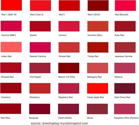 shades of red names image gallery red names