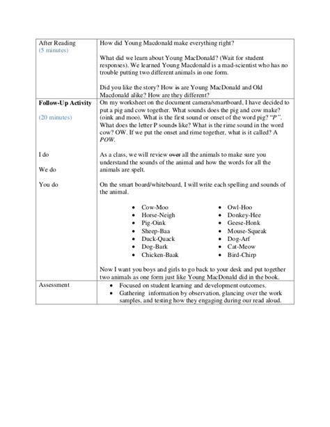 read aloud lesson plan template quot macdonald quot read aloud lesson plan