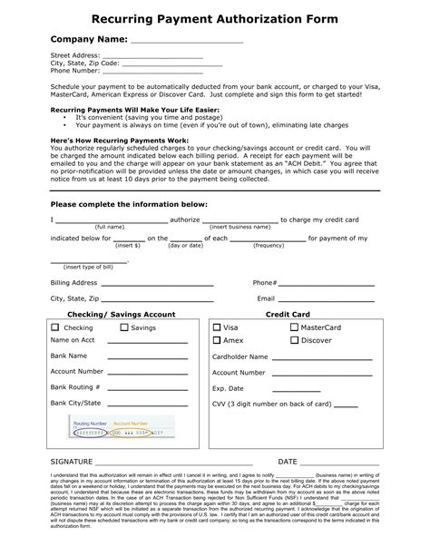 Download Recurring Payment Authorization Form Template Credit Card Ach Pdf Rtf Word Ach Authorization Form Template