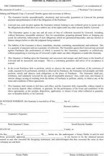 personal guarantee form template personal guarantee form for excel pdf and word