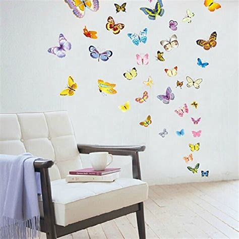 Small Home Decor Decals Amaonm 194 174 60 Pcs Colorful Butterly Decals For Boy