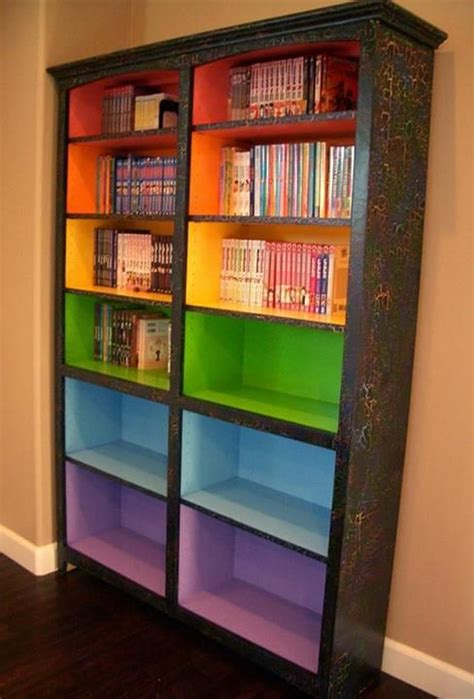paint colored shelves to signify different reading levels