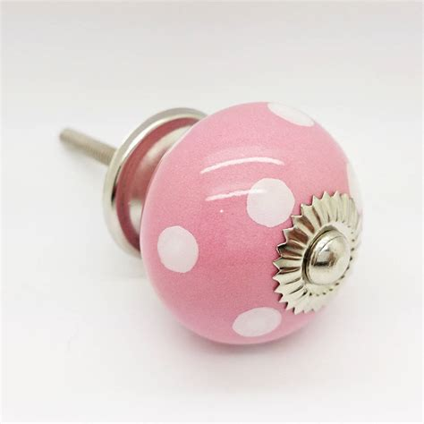 Pink Drawer Knobs by Pink Dots Ceramic Cupboard Door Knob Drawer Handle By G