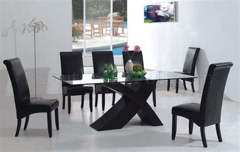 black modern dining room sets 7pc modern dining room set w black x shape legs glass top