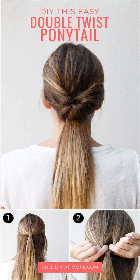 hair updos provide the perfect style for any occasion wedding updos this double twist ponytail is the perfect five minute