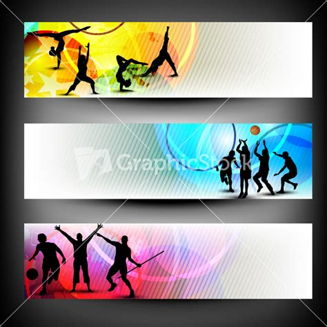 templates for sports banners abstract colorful sport banners set stock image