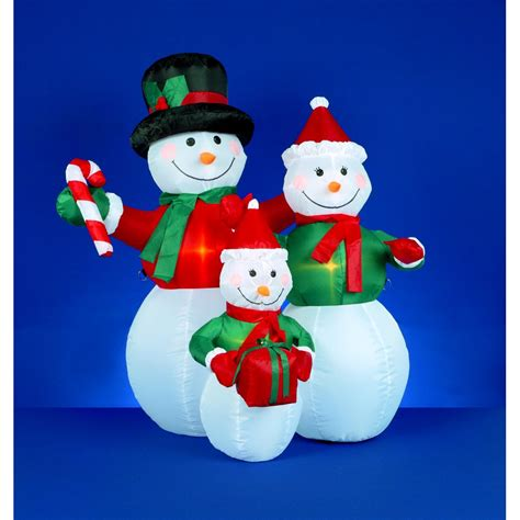premier decorations led inflatable festive snowman family