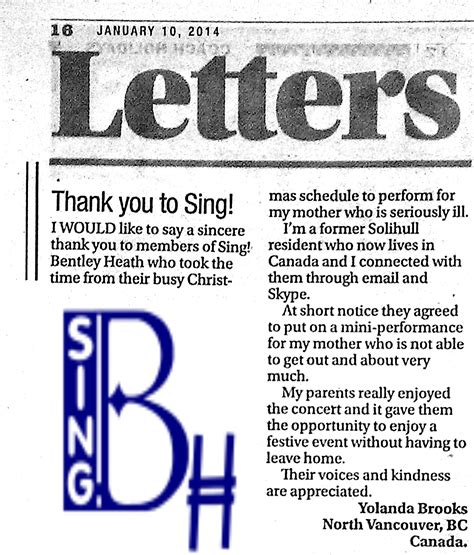 thank you letter to choir thank you letter to singing 28 images singing thank