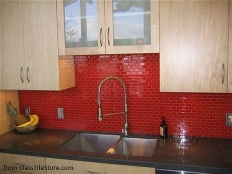red glass tile kitchen backsplash cherry kitchen backsplash modern new york by glass