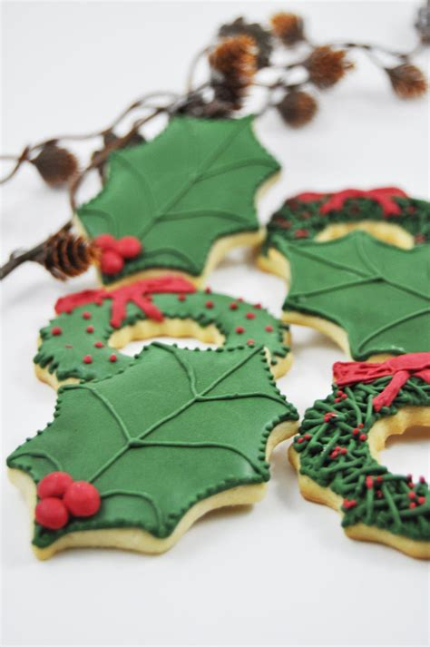 christmas holly leavessugar decorations leaves and wreath cookies 1 dozen leaf gift traditional