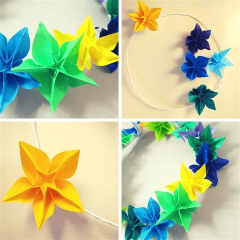 What Of Paper Do You Use For Origami - how to make a wreath using origami flowers