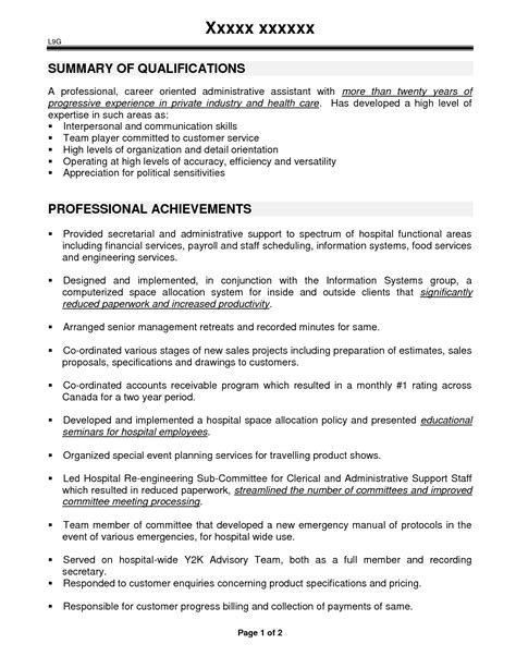 Sample Resume For Personal Assistant