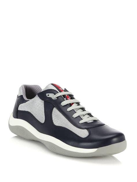 prada sneakers prada leather mesh sneakers in white for lyst