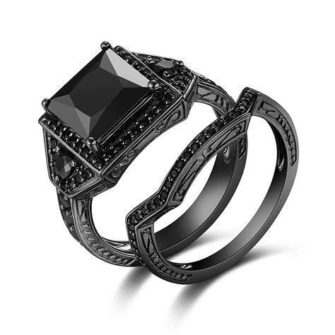 Black Ring 01 Black black 925 sterling silver princess cut black engagement