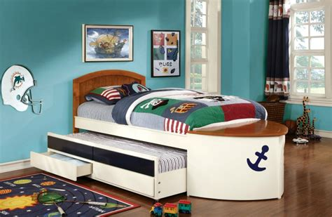 full boat bed voyager boat captain bed with trundle and 2 drawers cm7768