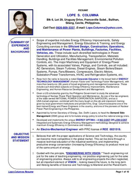 Mechanical Design Engineer Resume Sample by Lope Columna Comprehensive Resume 3
