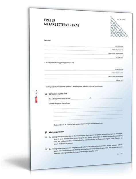 Muster Vertrag Schweiz Vertrag 252 Ber Freie Mitarbeit Muster Vorlage Zum