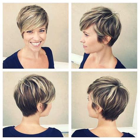 Short Pixie Haircut With Med Brown And Carmel Highlights | image result for short dark brown hair with blonde