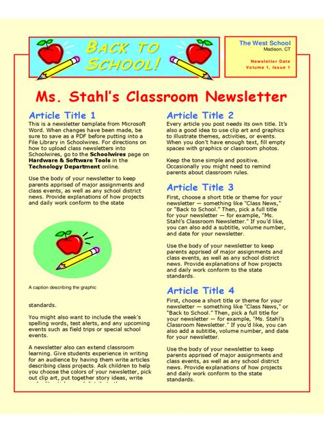 free newsletter templates pdf classroom newsletter template 3 free templates in pdf