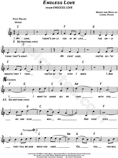 endless love by l richie sheet music on musicaneo lionel richie quot endless love quot sheet music leadsheet in c