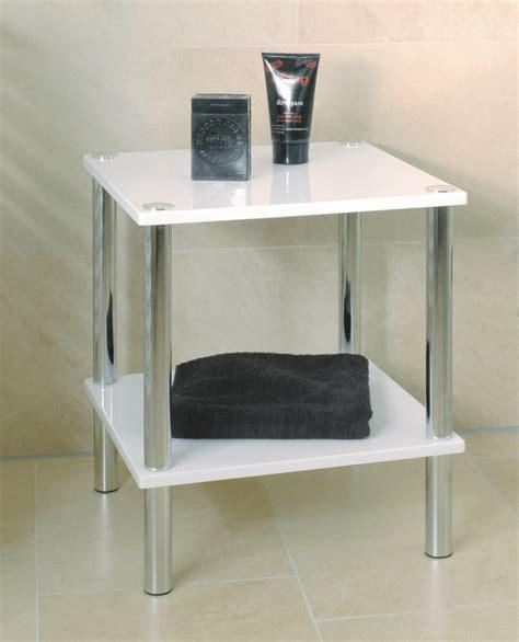 white bathroom table bern gloss white chrome occasional table 90338