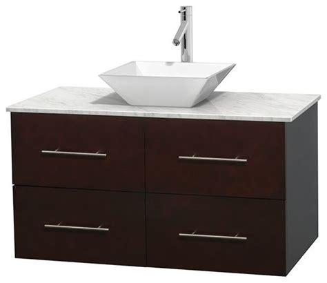 42 Quot Single Bathroom Vanity In Espresso White Carrera 42 Bathroom Vanities And Sinks