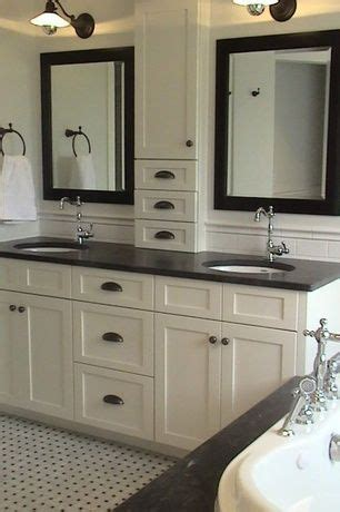 Height Of Bathroom Mirror Traditional Master Bathroom With Soapstone Counters Standard Height Subway Tile Effects