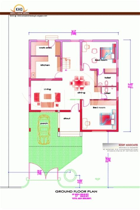 below 2000 square feet house plan and elevation 2000 square feet 3 bedroom house plan and elevation