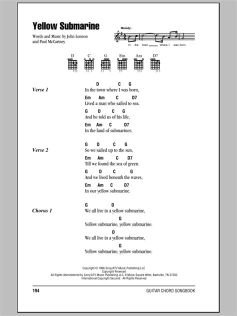 strumming pattern yellow submarine ukulele yellow submarine sheet music by the beatles lyrics