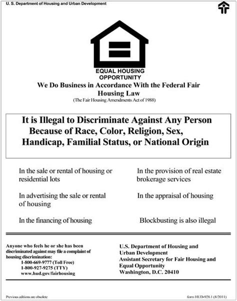 fair housing laws post hud s fair housing law poster in your brokerage is