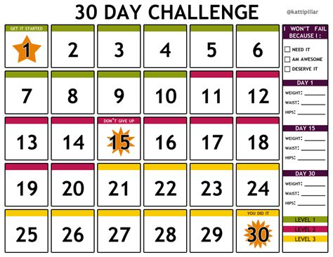 I Made This Free Printable 30 Day Challenge Calendar For Anyone To Use For Their Health And 30 Day Calendar Template