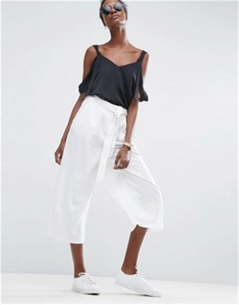 Asos Linen Culotte Trousers culottes shop for trousers midi skirts asos