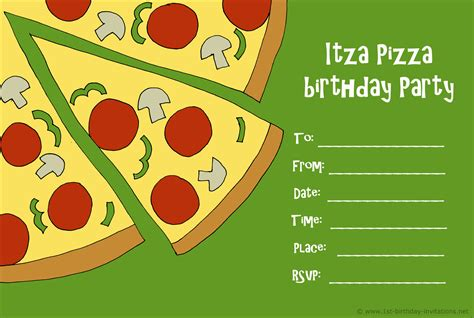 Pizza Birthday Card Template by Pizza Birthday Invitations Cimvitation