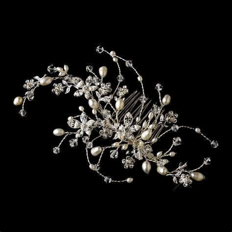pearl and crystal hair comb rhinestone pearl floral vine bridal hair comb elegant