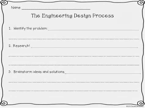 Engineering Design Process Worksheet by Engineering Design Process Worksheet Stem