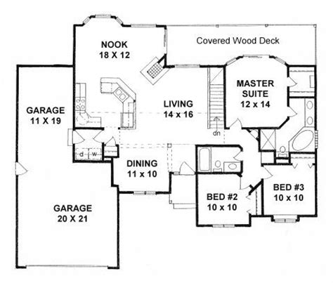 tandem garage plans plan 1436 3 bedroom ranch w tandem 3 car garage