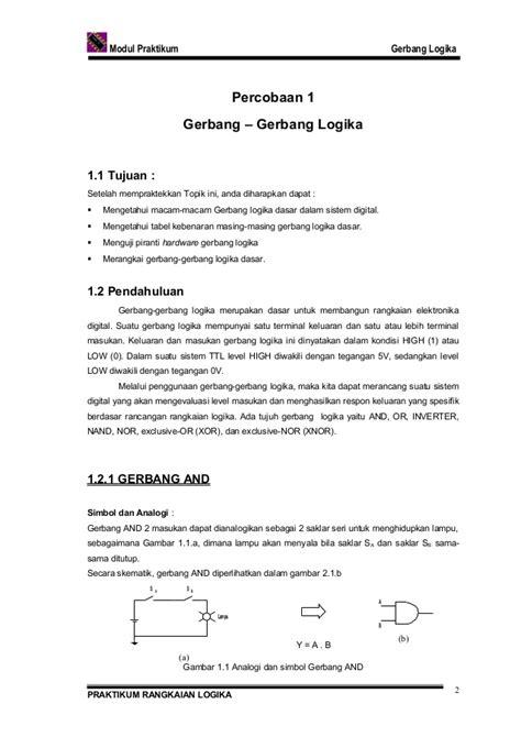 Dasar Dasar Rangkaian Logika Digital praktikum rangkaian logika gerbang dasar