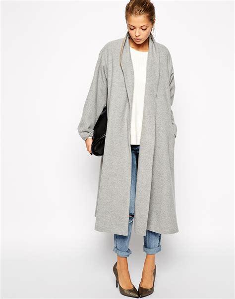 light grey long coat grey long sleeve lapel pockets oversized coat sheinside com