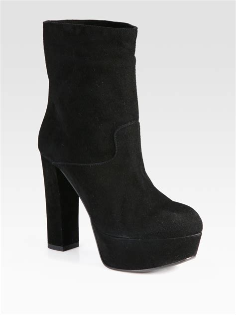 marni suede platform ankle boots in black lyst