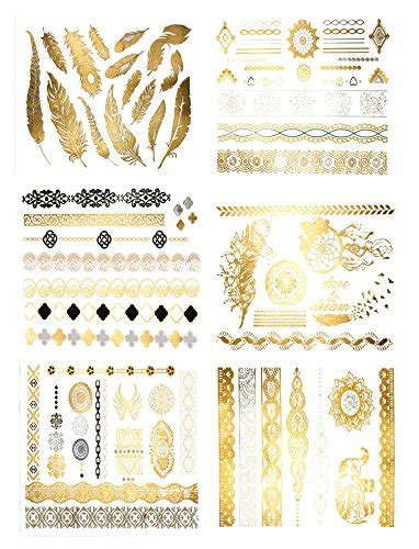 Dijamin Non Toxic Premium Quality Temporary 14 premium metallic tattoos 75 gold silver black shimmer