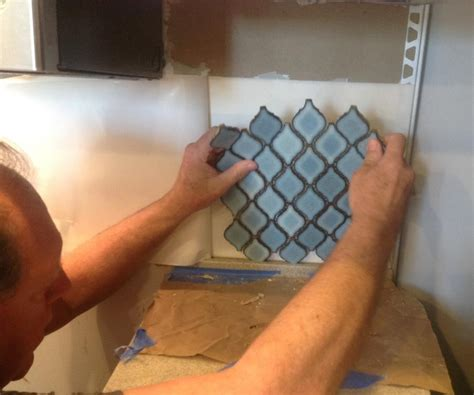 hometalk arabesque blue tile backsplash using an